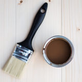 House Renovation, Brown Paint Can and Brush Stock Photos