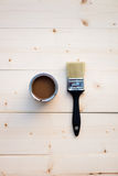 House Renovation, Brown Paint Can and Brush Royalty Free Stock Photos