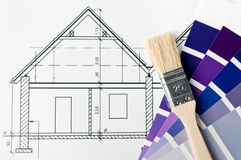 House renovation brush and color. House renovation - blueprint with brush and color samples stock image