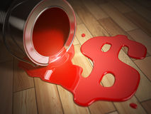 House renovation or construction concept. Can with spilled red p Royalty Free Stock Images