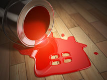 House renovation or construction concept. Can with spilled red p. House renovation construction concept. Can with spilled red paint and house symbol.  Paint your Stock Images