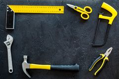 House renovation with implements set for building, painting and repair black table background top view frame mockup Stock Photos
