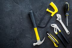 House renovation with implements set for building, painting and repair black table background top view mockup Stock Photos