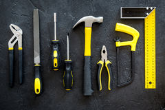 House renovation with implements set for building, painting and repair black table background top view pattern Stock Photo