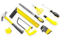 House renovation with implements set for building, painting and repair white table background top view Stock Photography