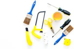 House renovation with implements set for building, painting and repair white table background top view mockup Stock Photos