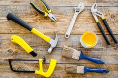 House renovation with implements set for building, painting and repair wooden table background top view Royalty Free Stock Photos