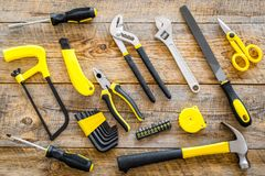 House renovation with implements set for building, painting and repair wooden table background top view Stock Photos