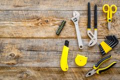 House renovation with implements set for building, painting and repair wooden table background top view mockup Royalty Free Stock Photo