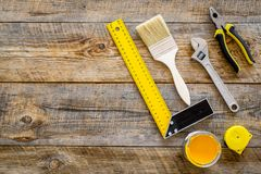 House renovation with implements set for building, painting and repair wooden table background top view mockup Royalty Free Stock Image