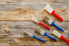 House renovation with implements set for building, painting and repair wooden table background top view mockup Stock Images