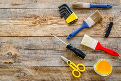 House renovation with implements set for building, painting and repair wooden table background top view mockup Royalty Free Stock Photos