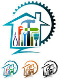 House renovation logo. Isolated illustrated house renovation logo design Royalty Free Stock Photo