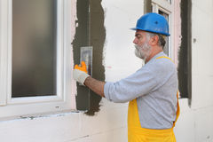 House renovation, polystyrene wall insulation Royalty Free Stock Images