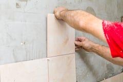 House renovation - tiles on wall Royalty Free Stock Photos