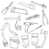 House renovation tools set black outline Royalty Free Stock Image