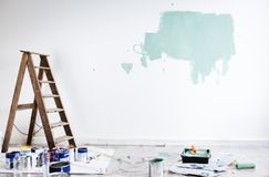 House renovation wall colouring paint Royalty Free Stock Photos