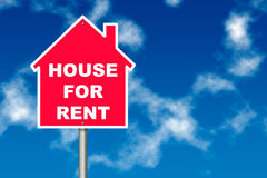 House for Rent. Red House for Rent notice board traffic sign over blue sky background Stock Images