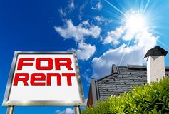 House For Rent - Big Chrome Billboard Stock Image