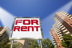 House For Rent - Big Chrome Billboard Royalty Free Stock Photos
