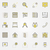 House rent colorful icons. Vector real estate and find apartments for rent creative signs Royalty Free Stock Image