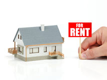 House for rent. Model house and for rent banner stock image
