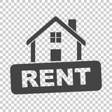 House with rent sign. Flat vector illustration on isolated backg Royalty Free Stock Photo