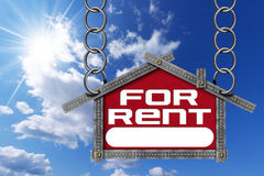 House For Rent Sign - Metallic Meter Stock Image