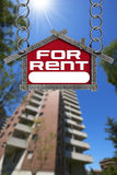 House For Rent Sign - Metallic Meter Stock Photo