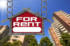 House For Rent Sign - Metallic Meter Stock Photos