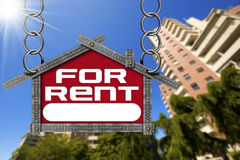 House For Rent Sign - Metallic Meter Stock Images