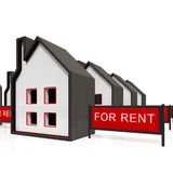 House For Rent Sign Shows Rental Stock Image