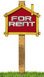 House For Rent Sign - Wooden Meter Stock Image