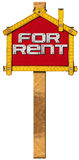 House For Rent Sign - Wooden Meter Royalty Free Stock Photos