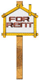 House For Rent Sign - Wooden Meter Royalty Free Stock Images