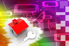 House With Rent Text And Key Illustration Stock Photo