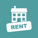 House for rent. Vector illustration in flat style on isolated ba Stock Photos