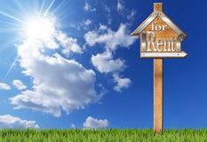 House For Rent - Wooden Sign with Pole Stock Images