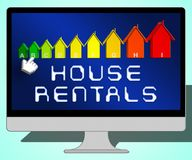 House Rentals Representing Real Estate 3d Illustration. House Rentals Laptop Representing Real Estate 3d Illustration Stock Image