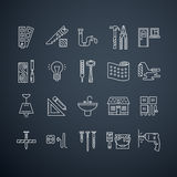 House Repair. Collection of vector house repair icons, including electric, plumbing tools and other remodel gear. Modern line style labels. Building Stock Photos