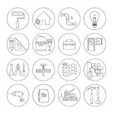 House repair icons. House repair vector line icons - construction, electricity, plumbing, home repair tools Stock Photography