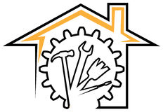 House repair. Isolated line art house repair design Royalty Free Stock Photography