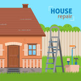House repair. Ladder with tools for renovation. Flat style vector illustration Stock Images