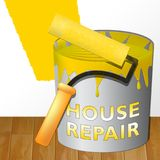 House Repair Means Fixing House 3d Illustration. House Repair Paint Means Fixing House 3d Illustration Stock Photo