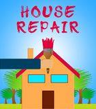 House Repair Meaning Fixing House 3d Illustration. House Repair Paintbrush Meaning Fixing House 3d Illustration Royalty Free Stock Image