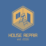 House repair and remodel vector logo, icon, badge. Home rebuilding concept Royalty Free Stock Image