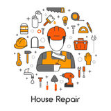 House Repair Renovation Line Art Thin Icons Set with Repairman and Tools. House Repair Renovation Line Art Thin Vector Icons Set with Repairman and Tools Stock Photography