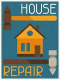 House repair. Retro poster in flat design style Stock Image