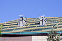 House  repair roof and chimney  new construction Stock Photo