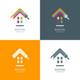 House repair, roofing  logo, label, emblem design. Staining roof of house, isolated icon. Concept for building, house construction and painting Royalty Free Stock Photo